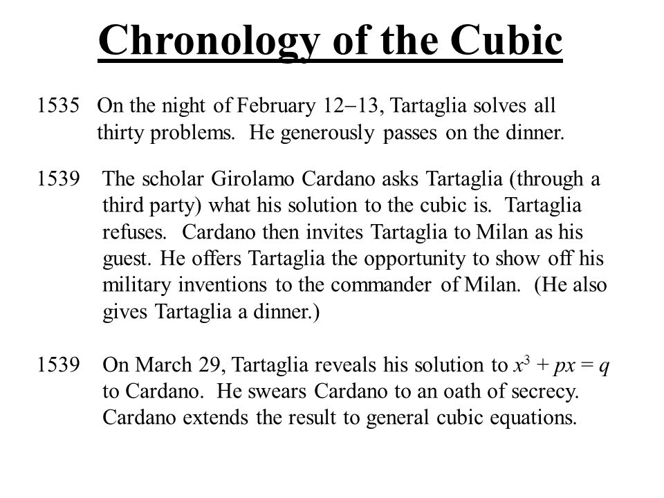 Chronology of the Cubic