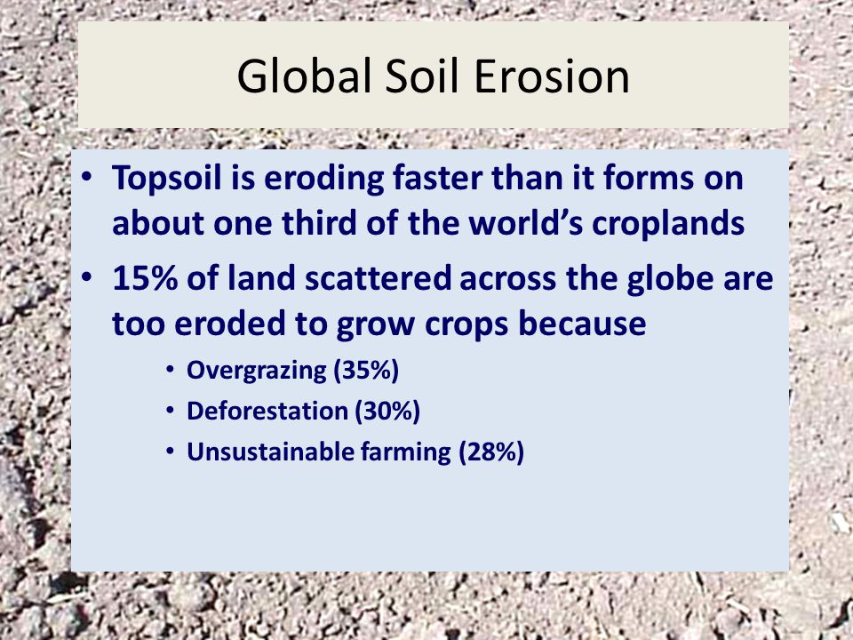Global Soil Erosion Topsoil is eroding faster than it forms on about one third of the world's croplands.