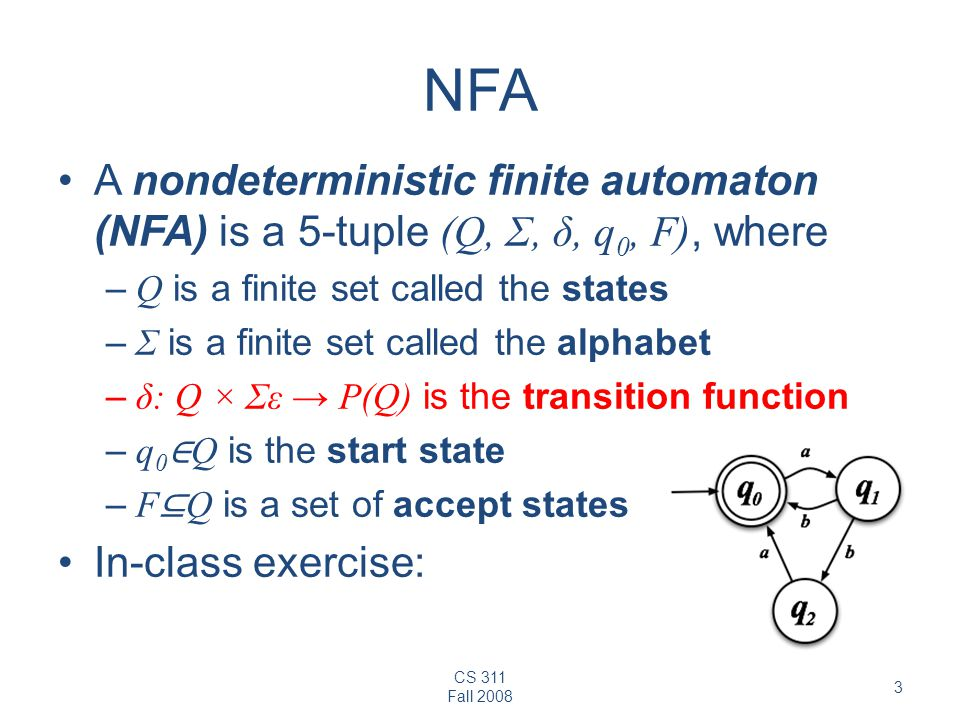 NFA A nondeterministic finite automaton (NFA) is a 5-tuple (Q, Σ, δ, q0, F), where. Q is a finite set called the states.
