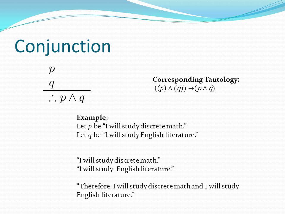 Conjunction Corresponding Tautology: ((p) ∧ (q)) →(p ∧ q) Example: