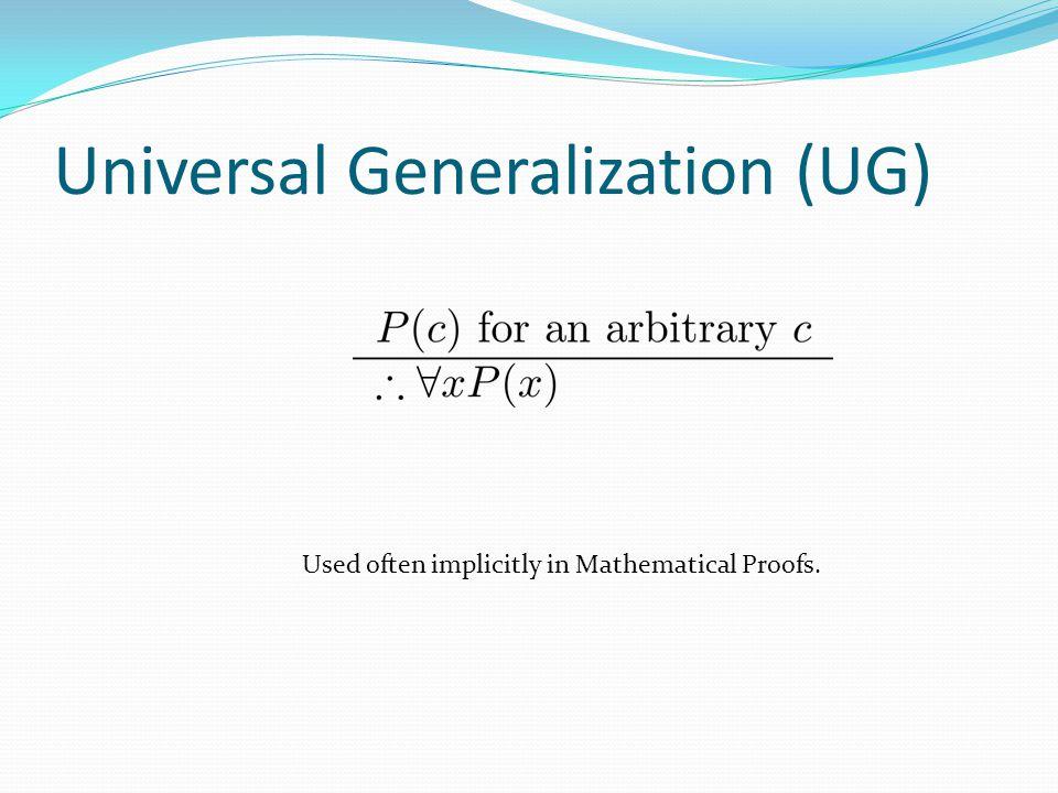 Universal Generalization (UG)