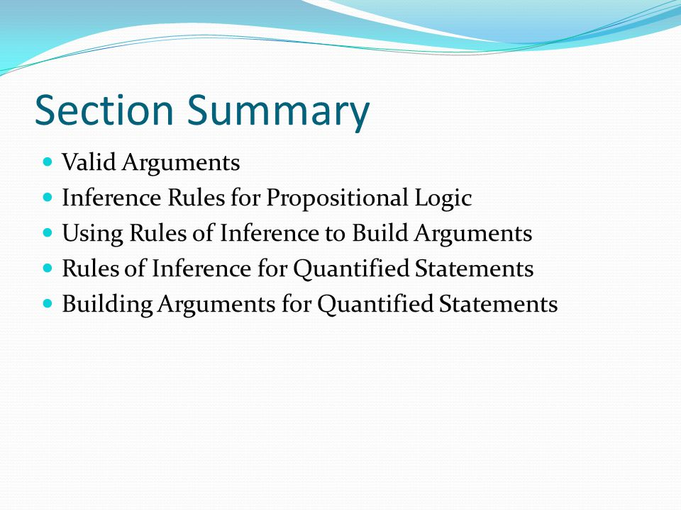 Section Summary Valid Arguments