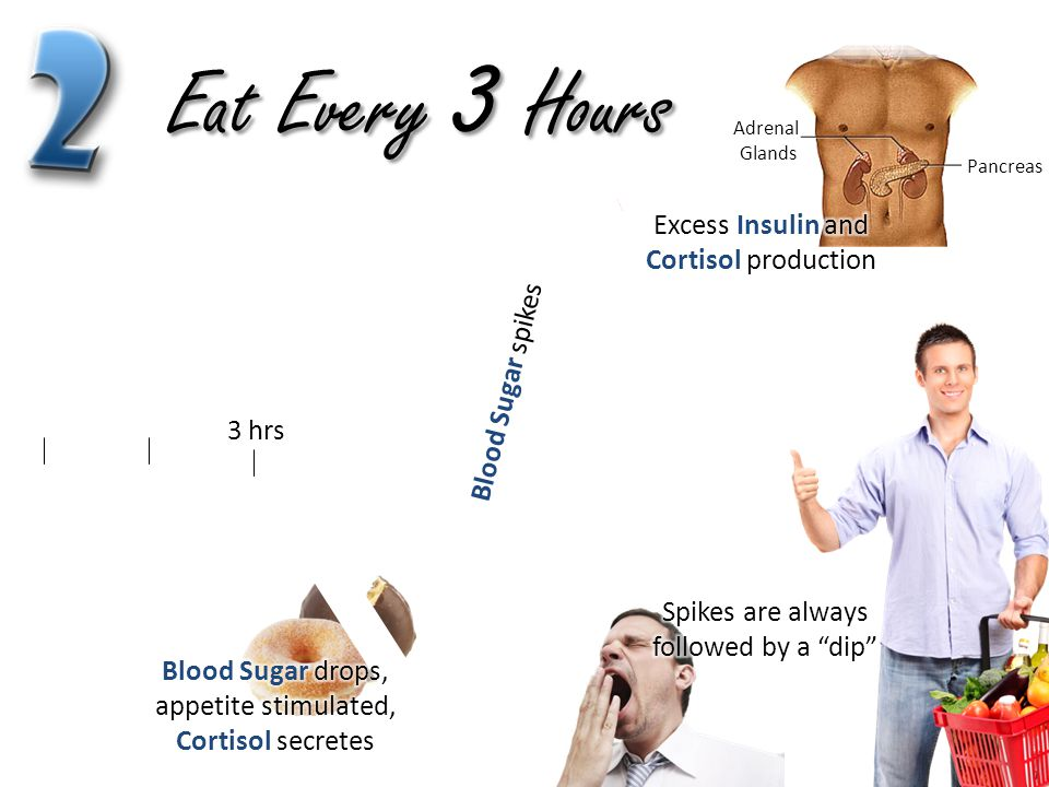 Eat Every 3 Hours Excess Insulin and Cortisol production