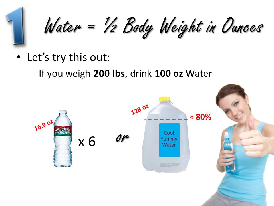 Water = ½ Body Weight in Ounces