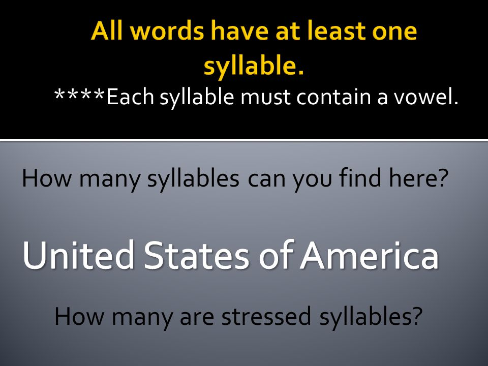 All words have at least one syllable.