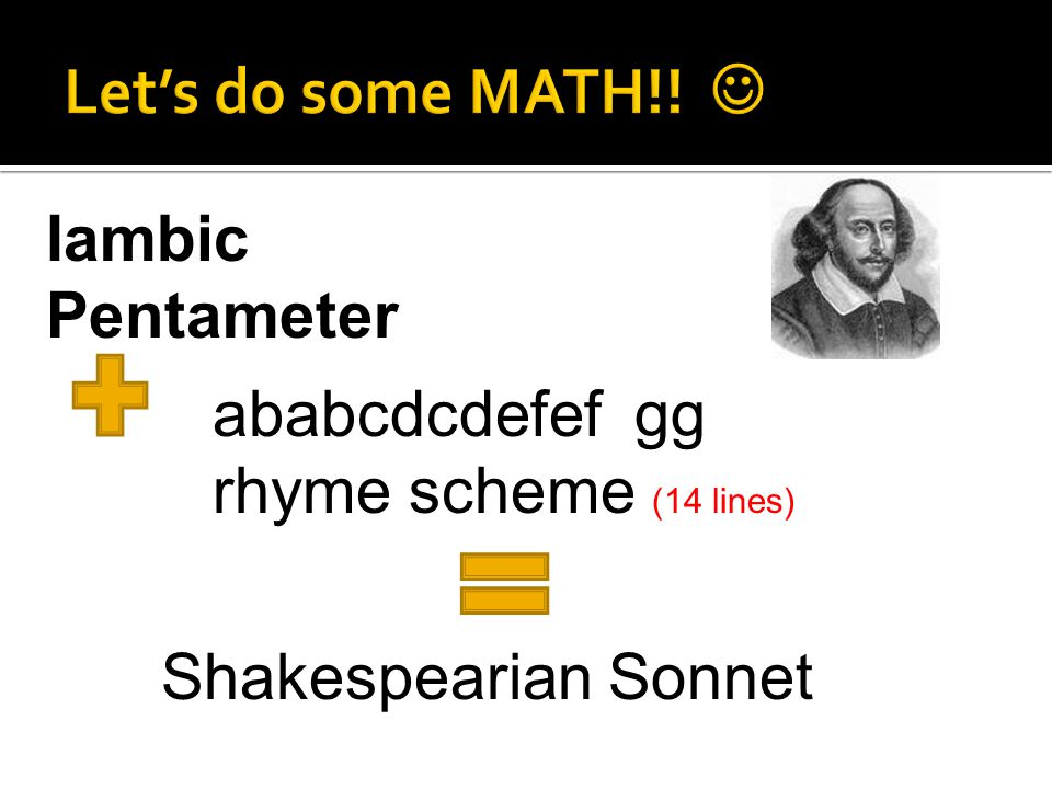 Let's do some MATH!!  Iambic Pentameter