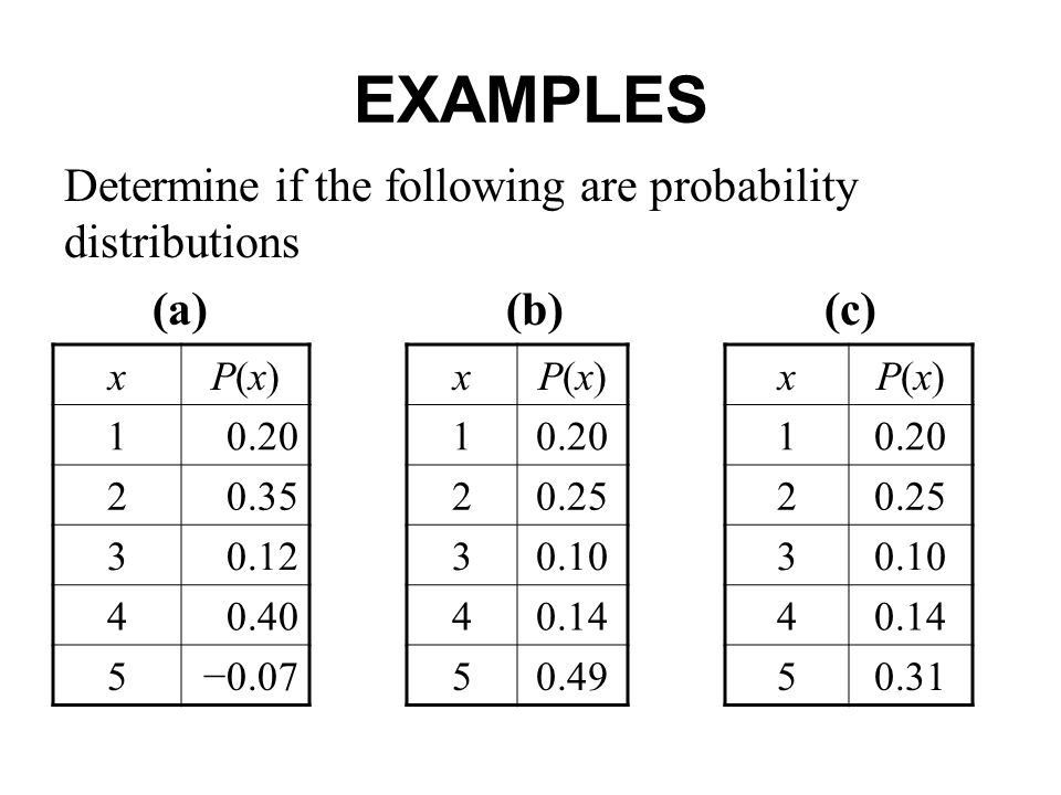 EXAMPLES Determine if the following are probability distributions