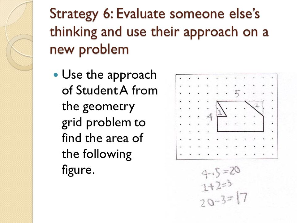 Strategy 6: Evaluate someone else's thinking and use their approach on a new problem