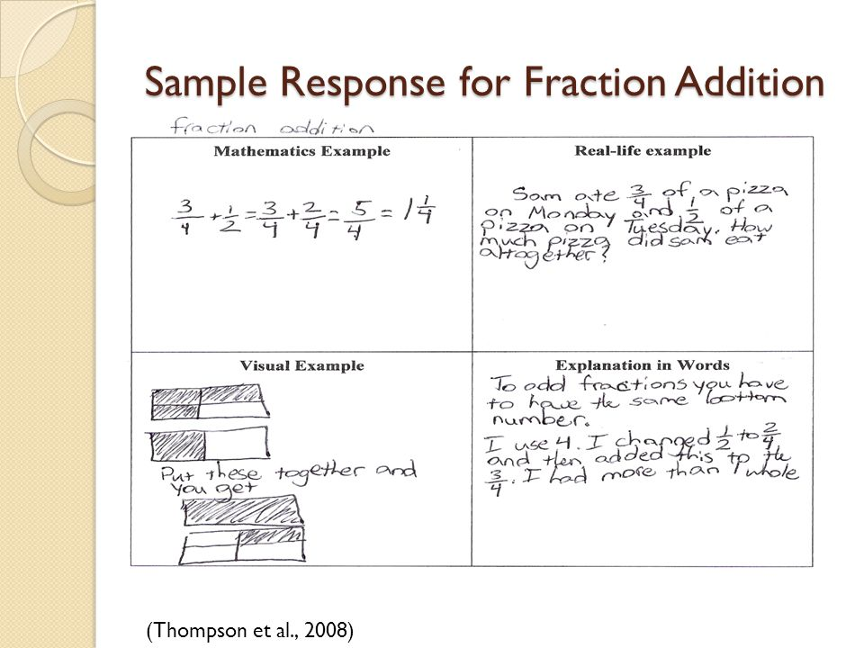 Sample Response for Fraction Addition