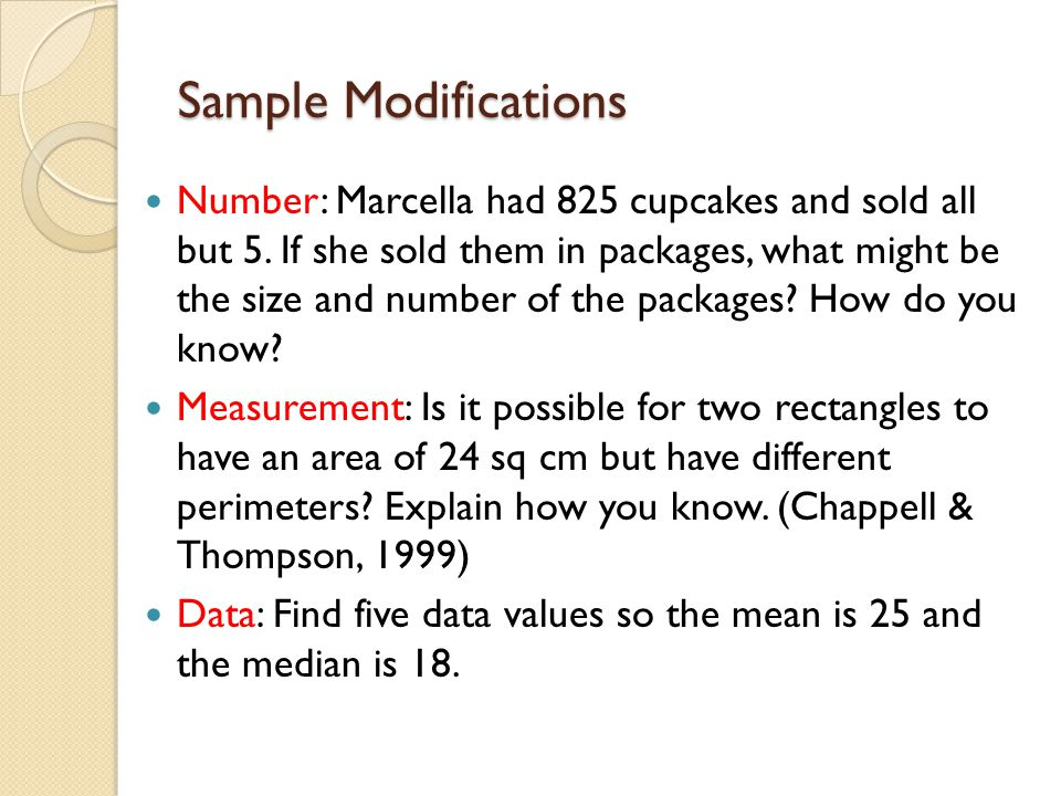 Sample Modifications