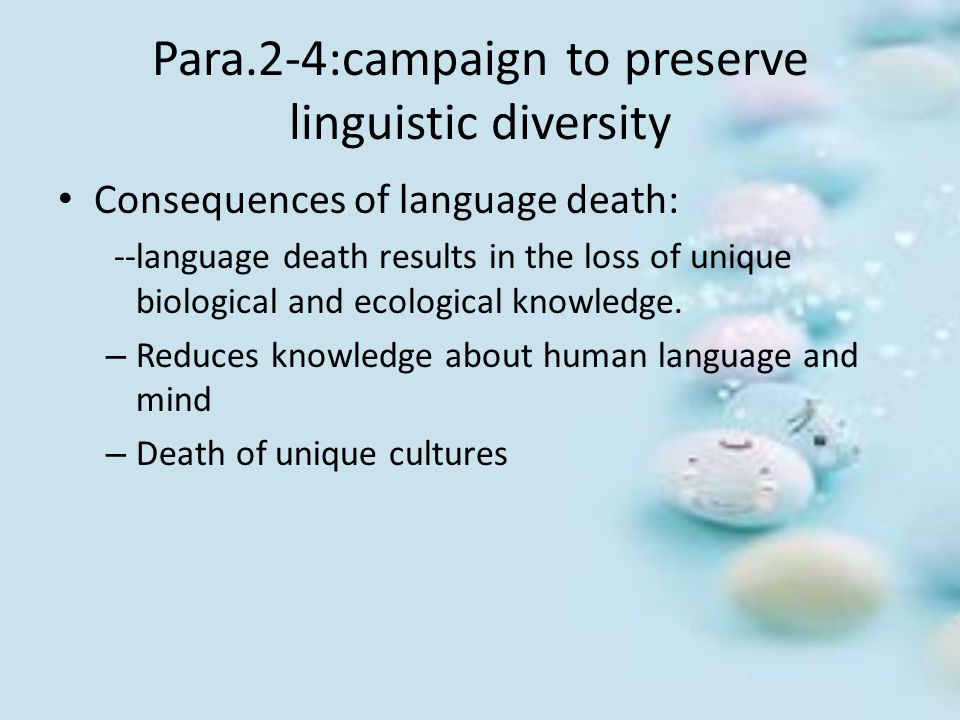 Para.2-4:campaign to preserve linguistic diversity