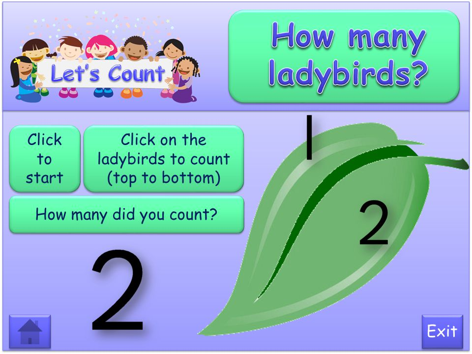 Click on the ladybirds to count (top to bottom)
