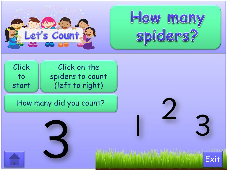 Click on the spiders to count (left to right)