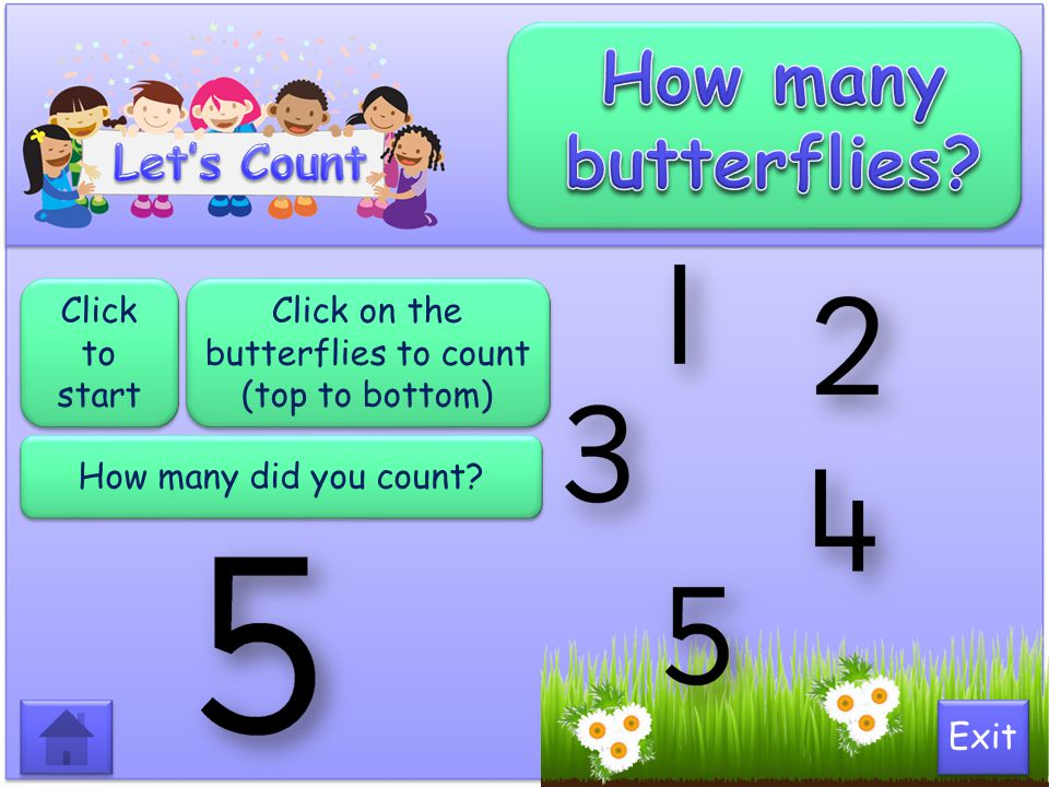 Click on the butterflies to count (top to bottom)