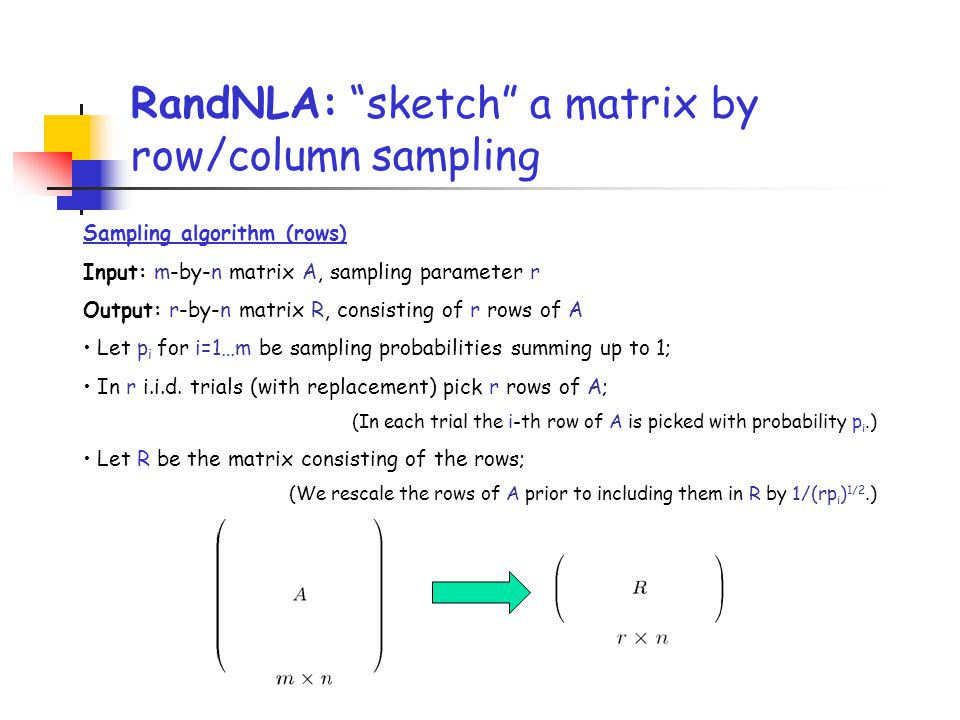 RandNLA: sketch a matrix by row/column sampling
