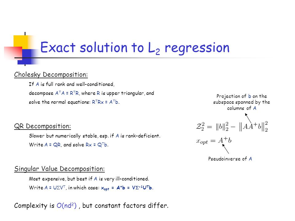 Exact solution to L2 regression