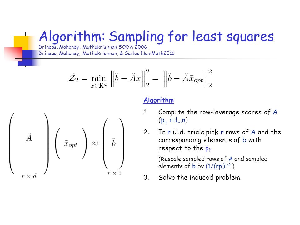 Algorithm: Sampling for least squares Drineas, Mahoney, Muthukrishnan SODA 2006, Drineas, Mahoney, Muthukrishnan, & Sarlos NumMath2011