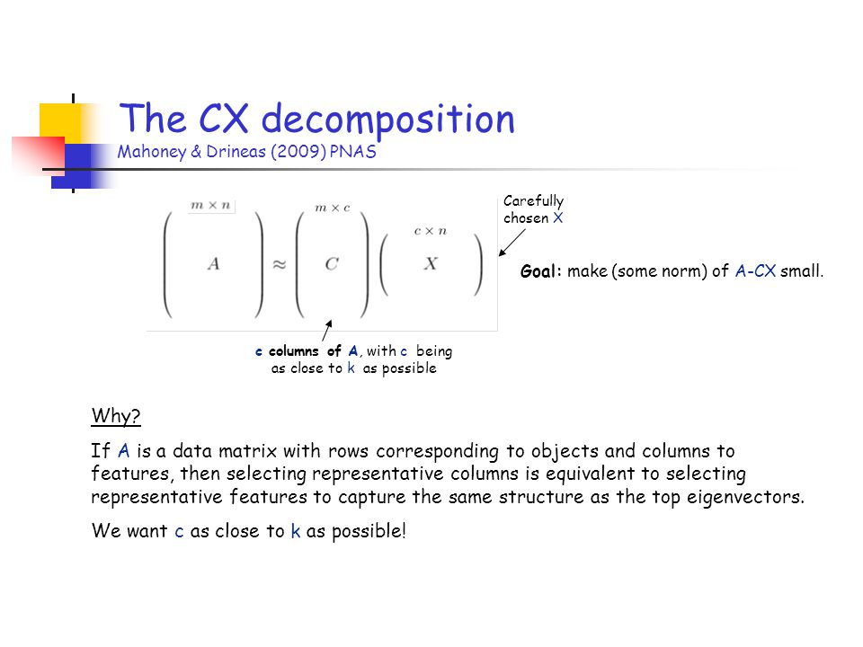The CX decomposition Mahoney & Drineas (2009) PNAS
