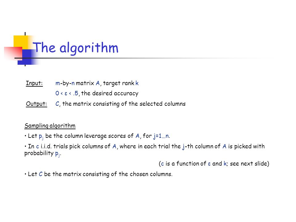 The algorithm Input: m-by-n matrix A, target rank k