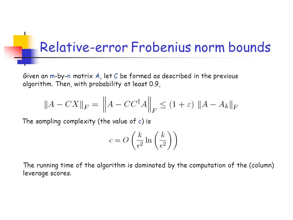 Relative-error Frobenius norm bounds