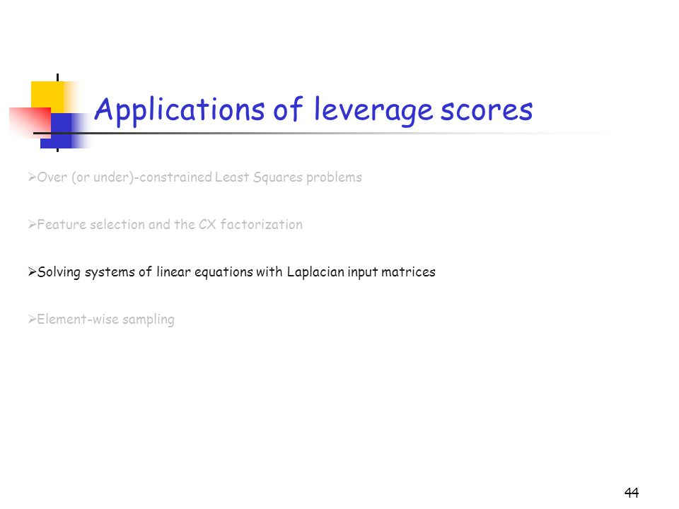 Applications of leverage scores