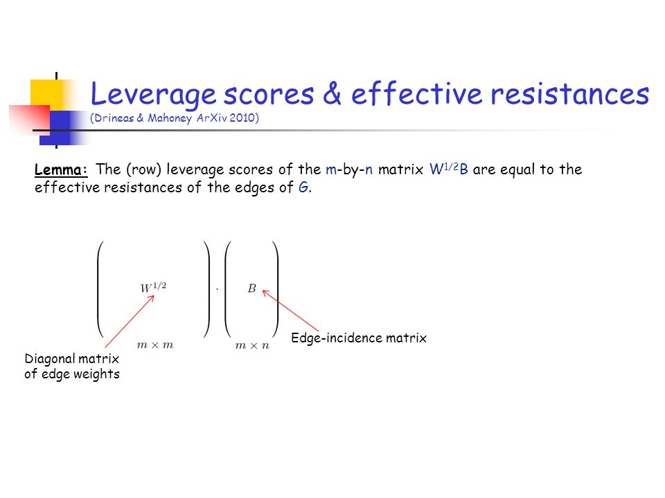 Leverage scores & effective resistances (Drineas & Mahoney ArXiv 2010)