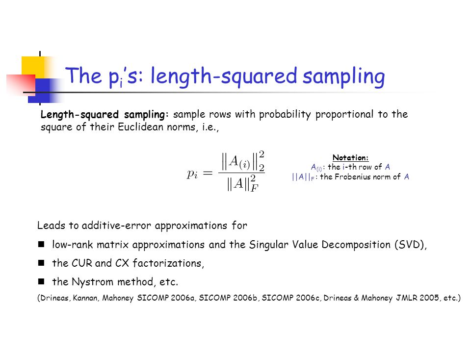 The pi's: length-squared sampling