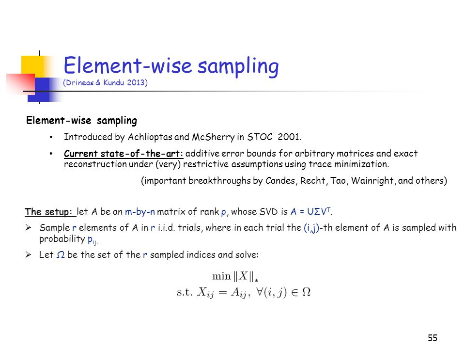 Element-wise sampling (Drineas & Kundu 2013)