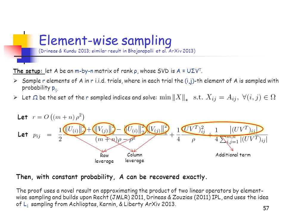 Element-wise sampling (Drineas & Kundu 2013; similar result in Bhojanapalli et al. ArXiv 2013)