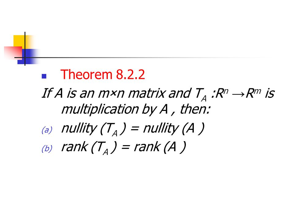 Theorem 8.2.2 If A is an m×n matrix and TA :Rn →Rm is multiplication by A , then: nullity (TA ) = nullity (A )