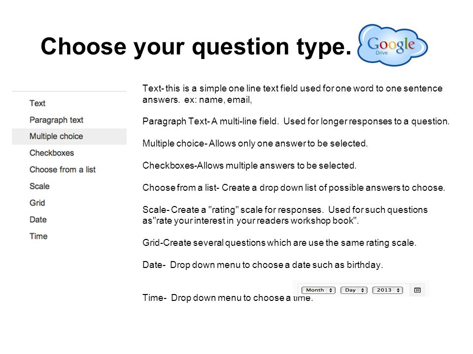 Choose your question type.