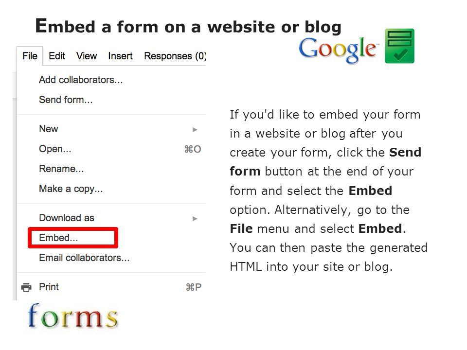 Embed a form on a website or blog