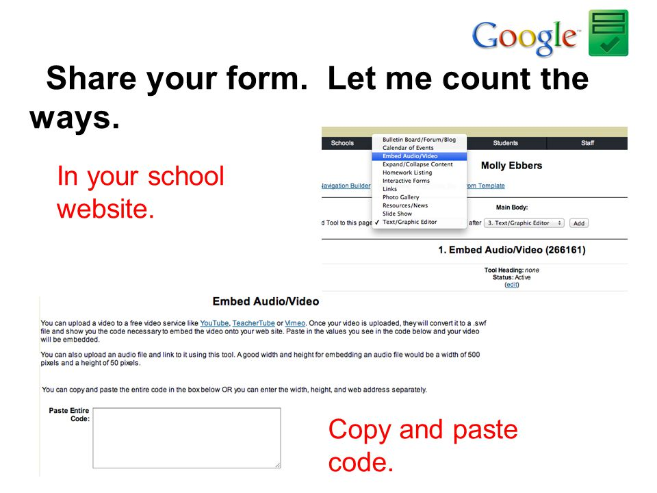 Share your form. Let me count the ways.