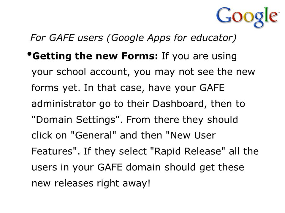For GAFE users (Google Apps for educator)