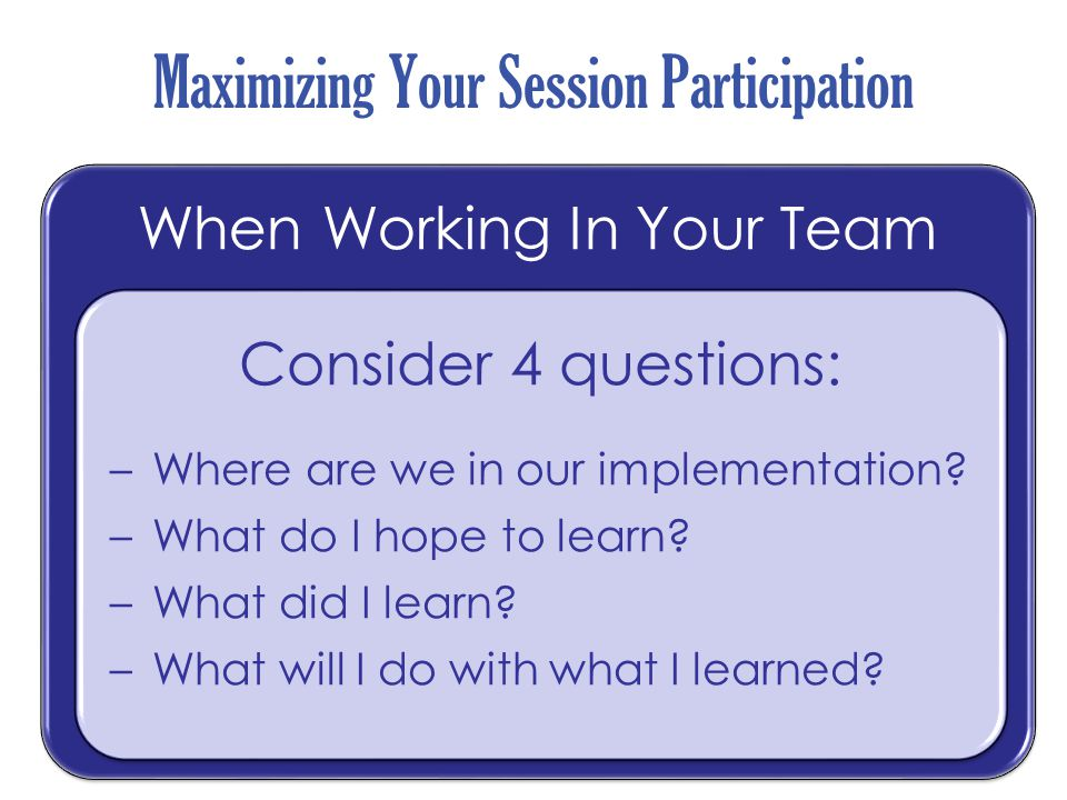 Where are you in the implementation process