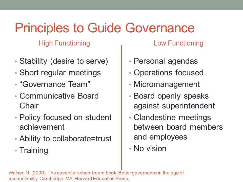 Principles to Guide Governance