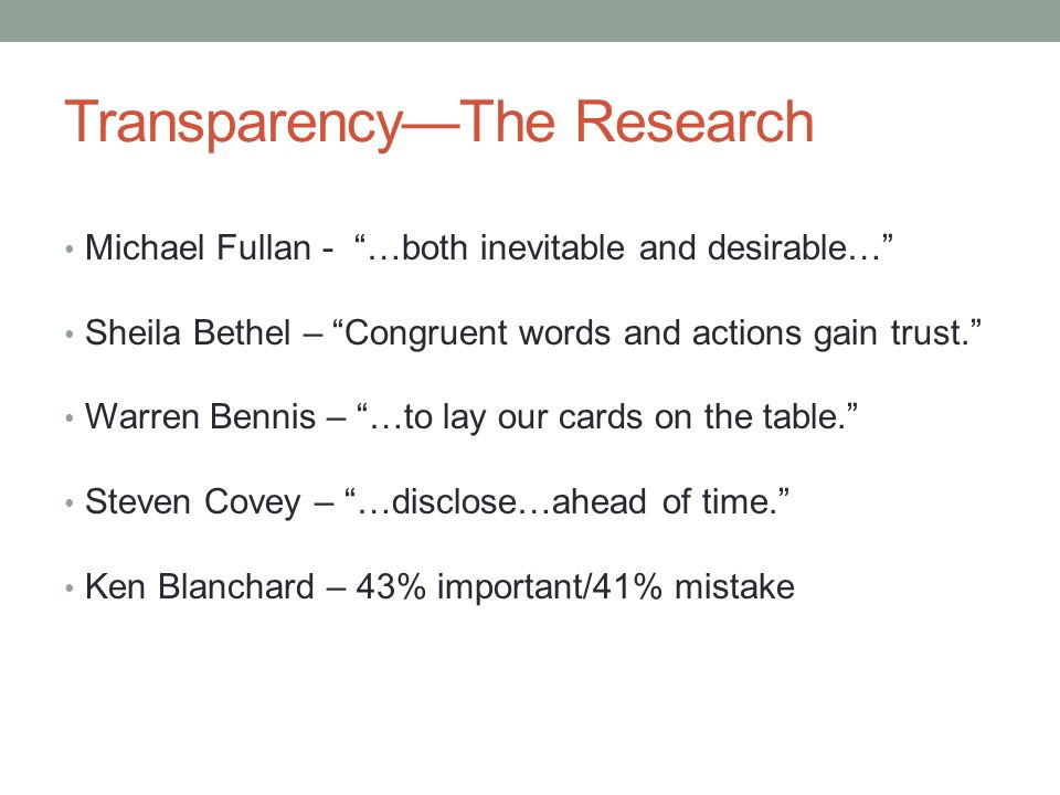 Transparency—The Research