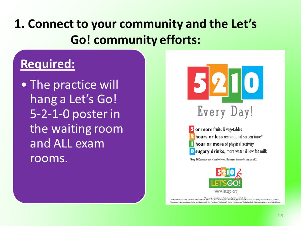 1. Connect to your community and the Let's Go! community efforts:
