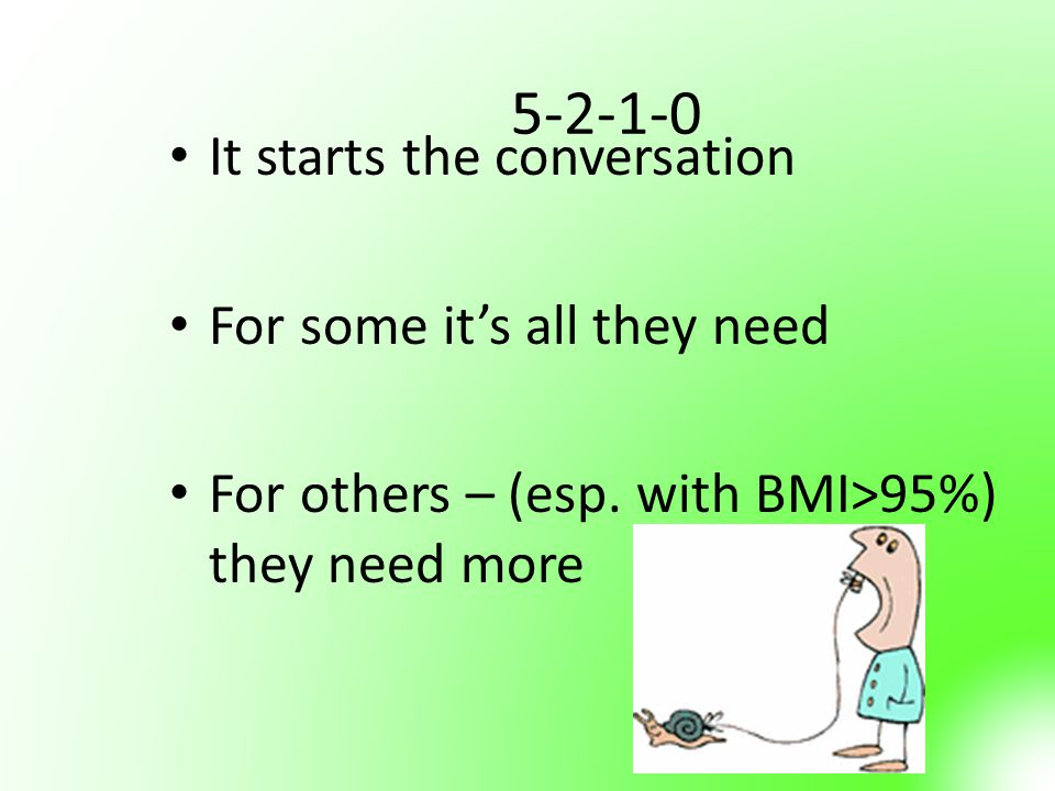 5-2-1-0 It starts the conversation For some it's all they need