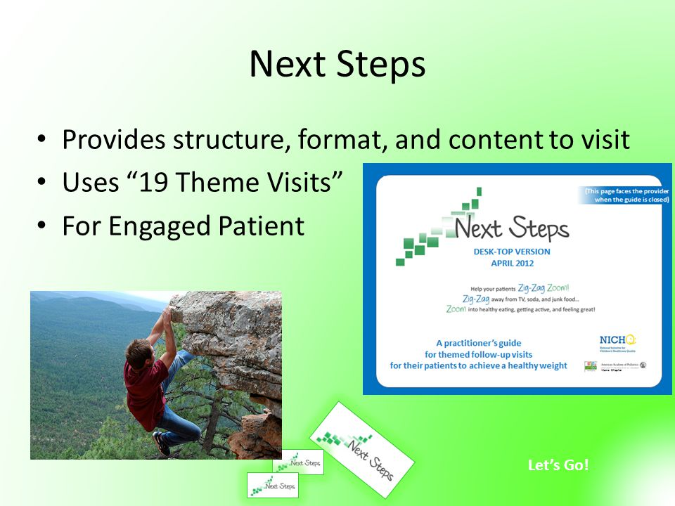 Next Steps Provides structure, format, and content to visit