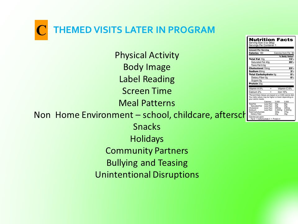 C THEMED VISITS LATER IN PROGRAM Physical Activity Body Image