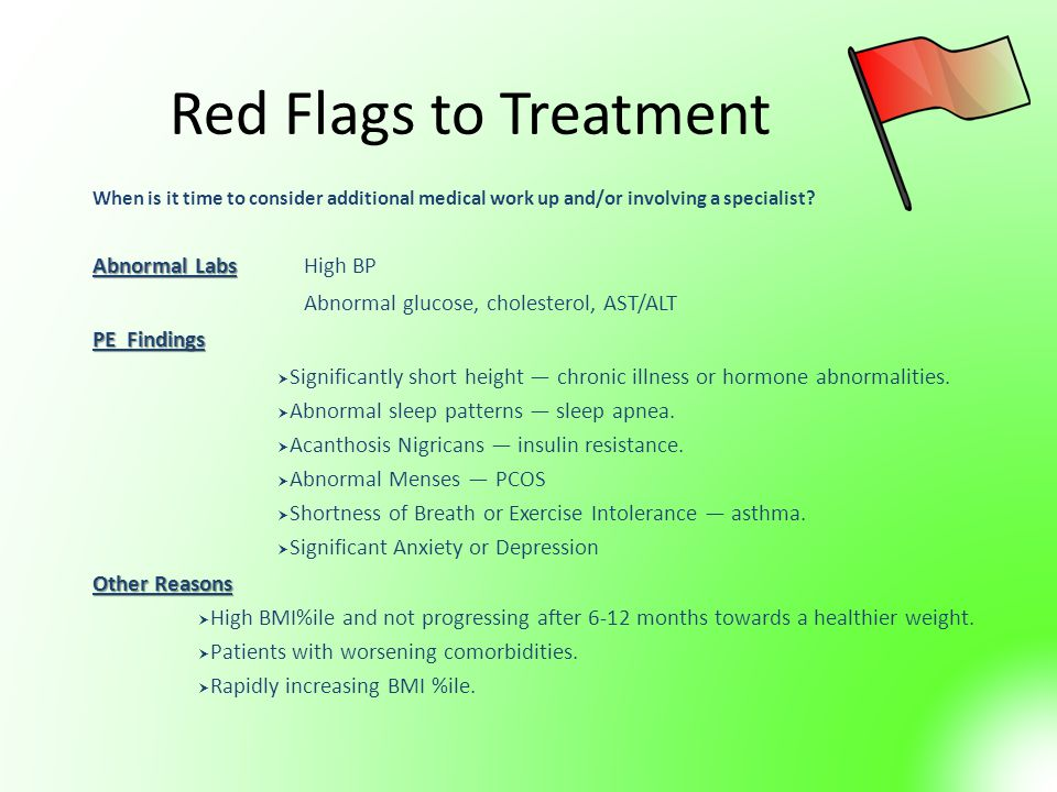 Red Flags to Treatment Abnormal Labs High BP