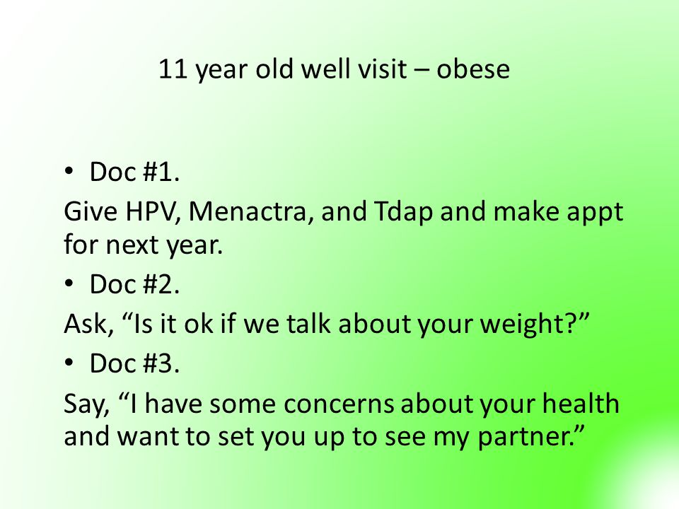 11 year old well visit – obese