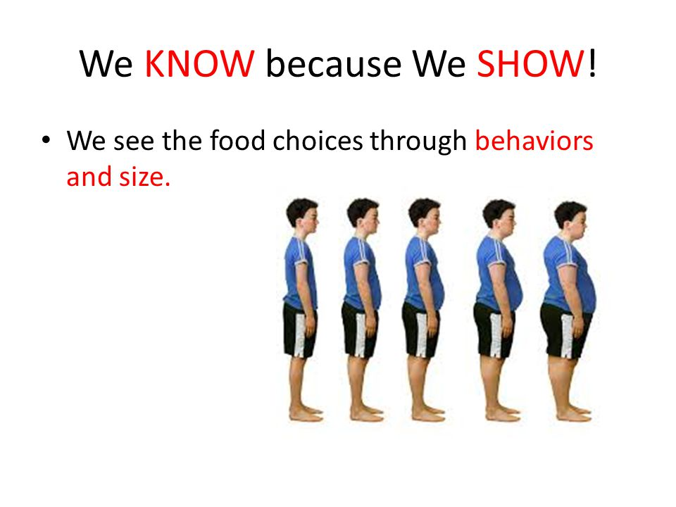 We KNOW because We SHOW! We see the food choices through behaviors and size.