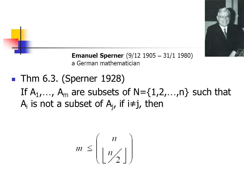 Emanuel Sperner (9/12 1905 – 31/1 1980) a German mathematician. Thm 6.3. (Sperner 1928)