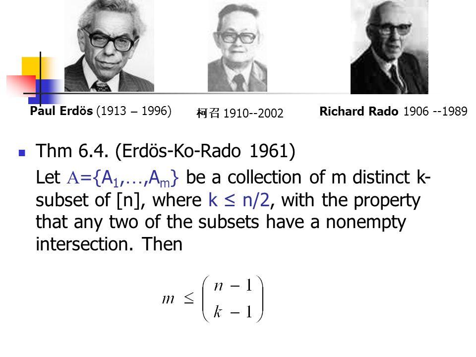 Paul Erdös (1913 – 1996) 柯召 1910--2002. Richard Rado 1906 --1989. Thm 6.4. (Erdös-Ko-Rado 1961)