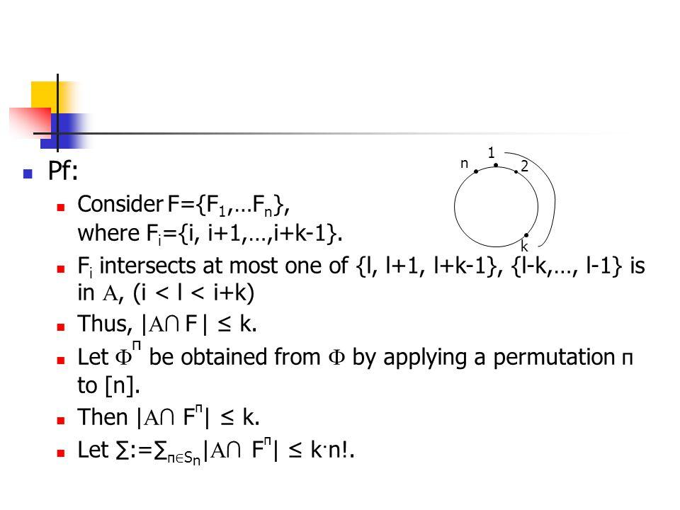 Pf: Consider F={F1,…Fn}, where Fi={i, i+1,…,i+k-1}.