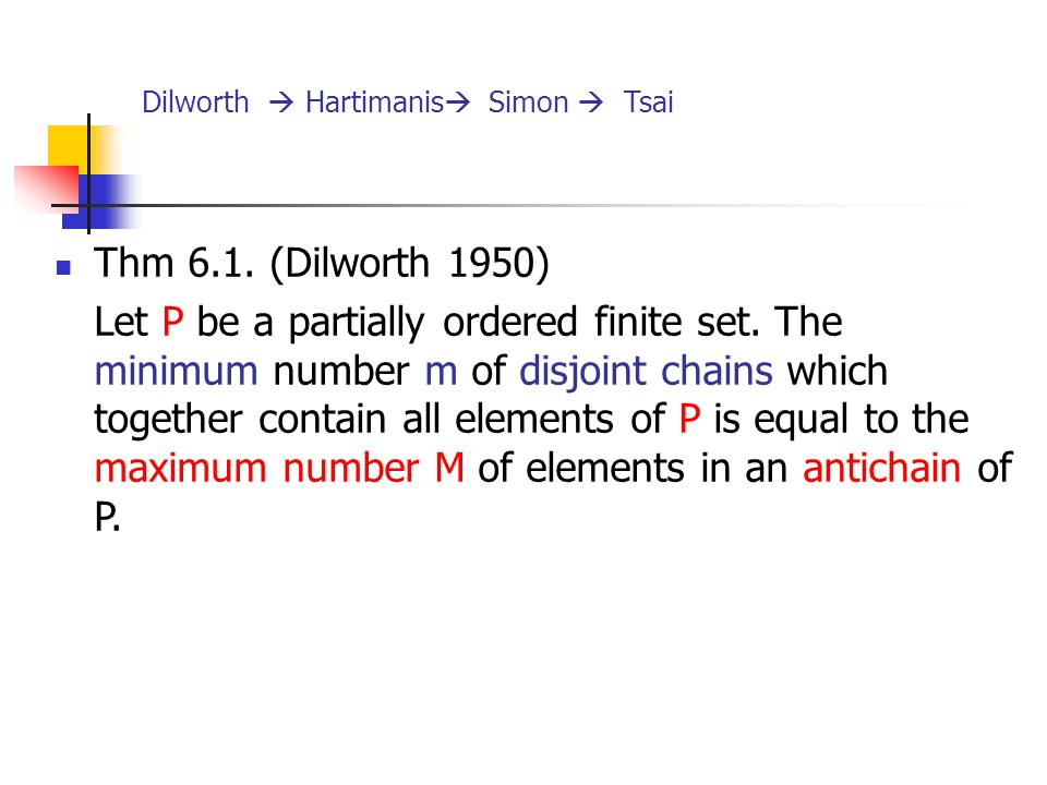 Dilworth  Hartimanis Simon  Tsai