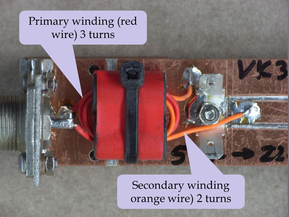 Primary winding (red wire) 3 turns