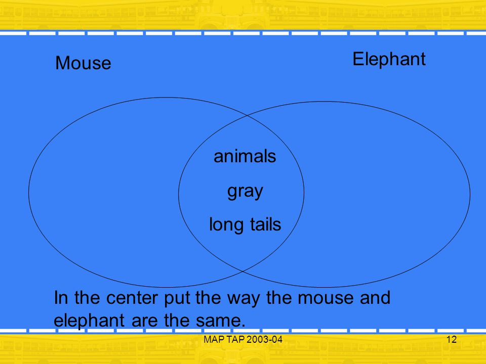 In the center put the way the mouse and elephant are the same.